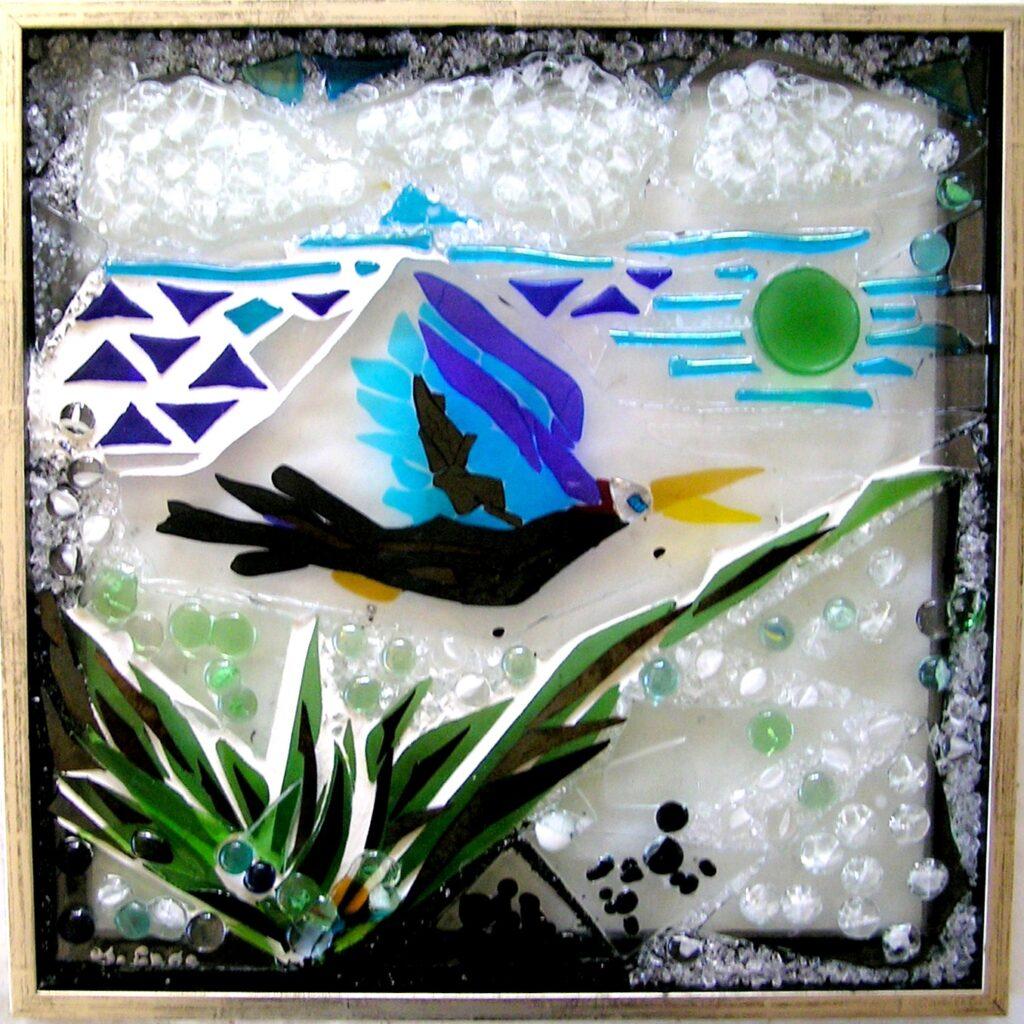 Mosaik, mosaikker, glaspatch mosaik, glaskunst, glaspatch glaskunst, glaskunst galleri, glaskunst udstilling, glaskunstner, Mette Enøe. fugl