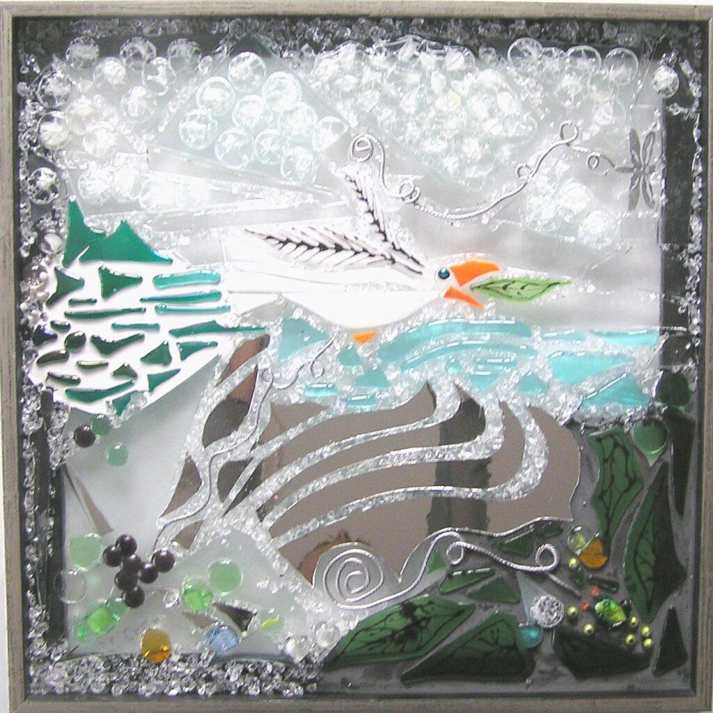 Mosaik, mosaikker, glaspatch mosaik, glaskunst, glaspatch glaskunst, glaskunst galleri, glaskunst udstilling, glaskunstner, Mette Enøe, fugl