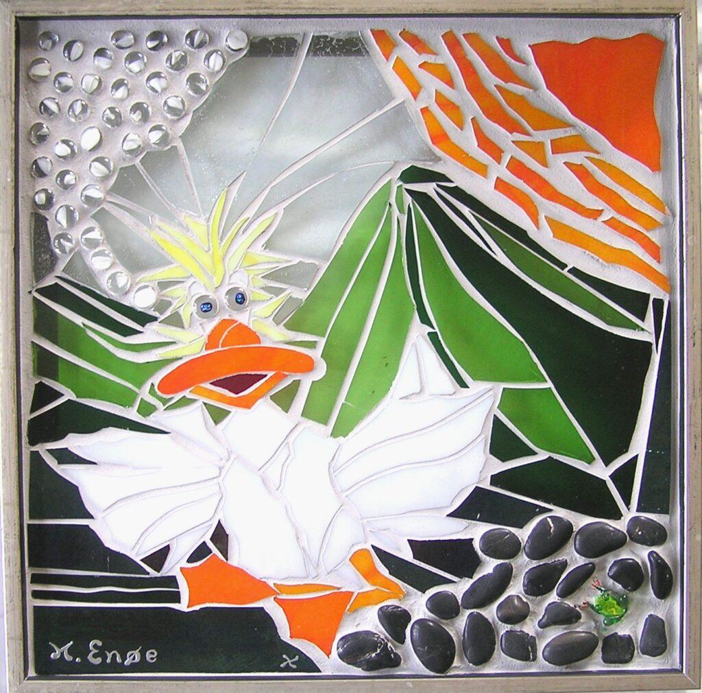 Mosaik, glasmosaik, glaskunst, glaskunstner, glaspatch glaskunst, glaskunstner, glaskunst udstilling, Andebakken, and i glas, glasand, glasdyr