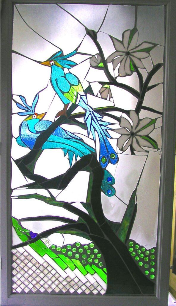 Mosaik, glasmosaik, glaskunst, glaskunstner, Liselund ny Slot, Glaspatch glaskunst, glaskunstner, glaskunst udstilling, specialopgaver