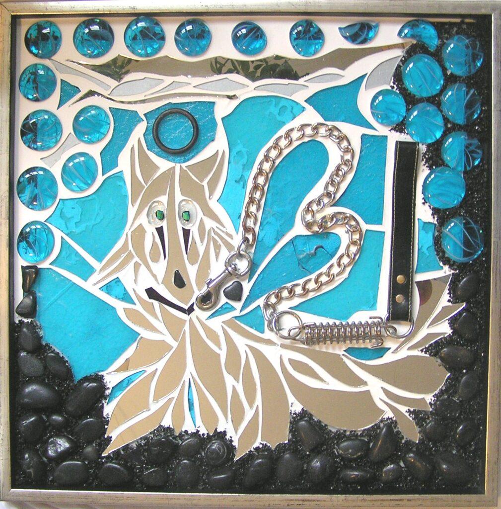 Mosaik, mosaikker, glaspatch mosaik, glaskunst, glaspatch glaskunst, glaskunst galleri, glaskunst udstilling, glaskunstner, Mette Enøe, kæledyr, hund, kat,