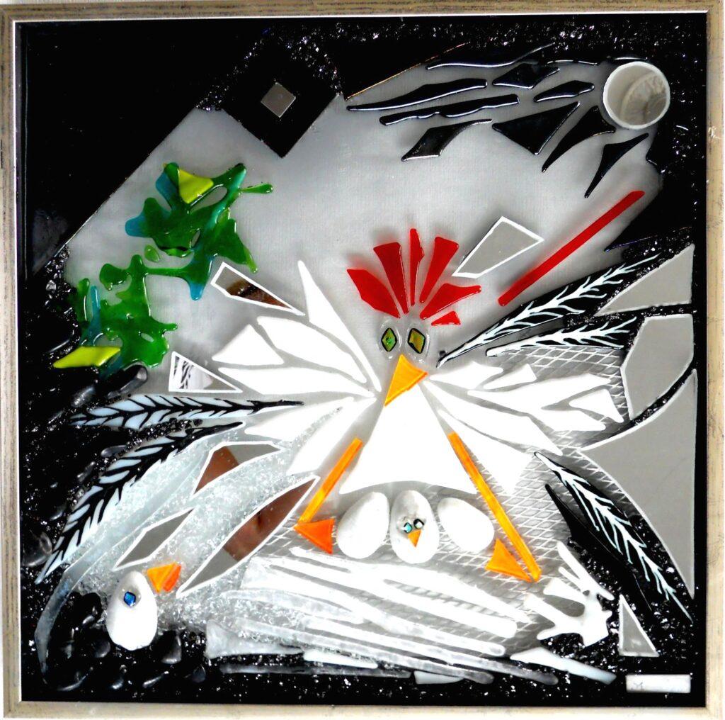 Mosaik, mosaikker, glaspatch mosaik, glaskunst, glaspatch glaskunst, glaskunst galleri, glaskunst udstilling, glaskunstner, Mette Enøe, høne, hønsegård, Stress
