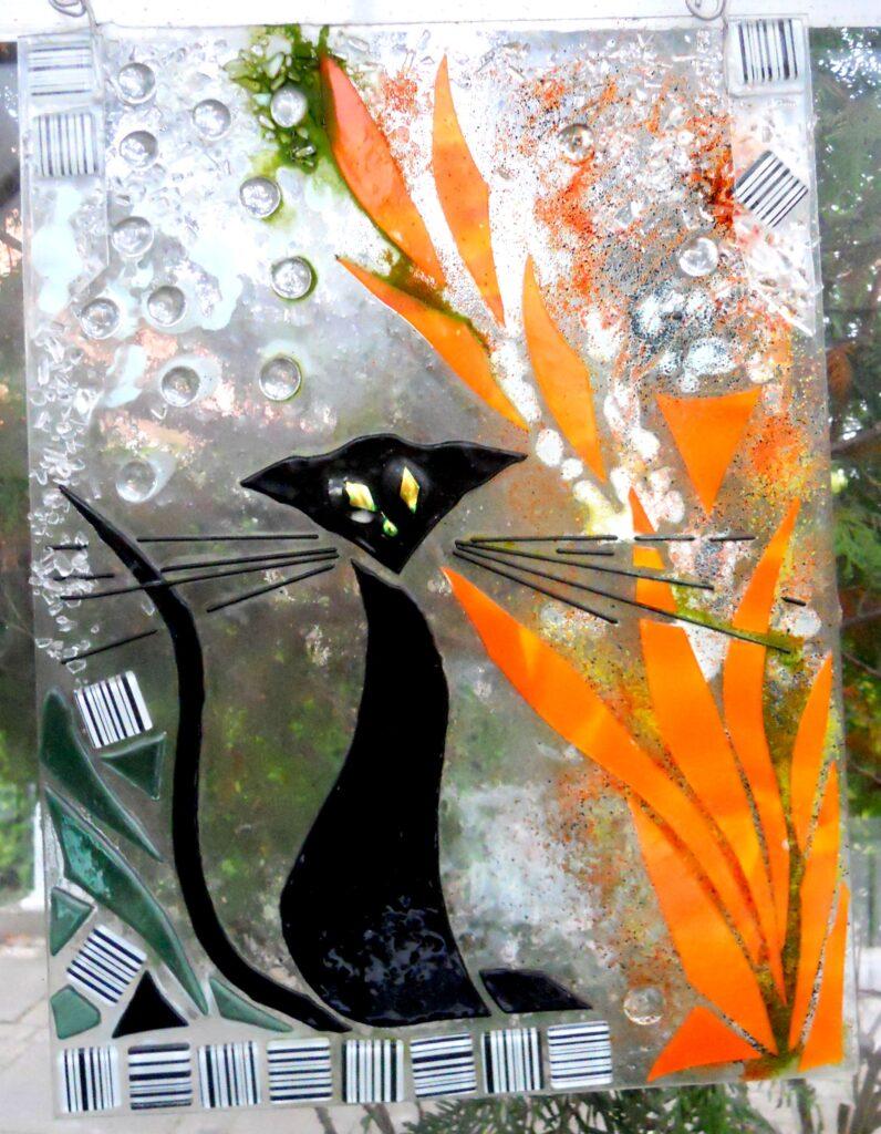 glasophæng, kat, vinduesdekoration