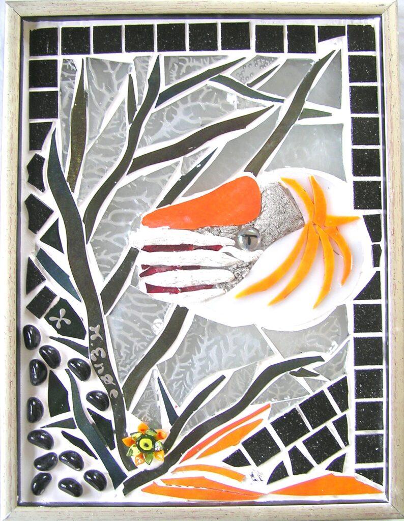 Mosaikker str. 30 cm, af Mette Enøe, glaskunster og specialist.  Se det flotte udvalg. Fremvisning af galleri efter aftale.