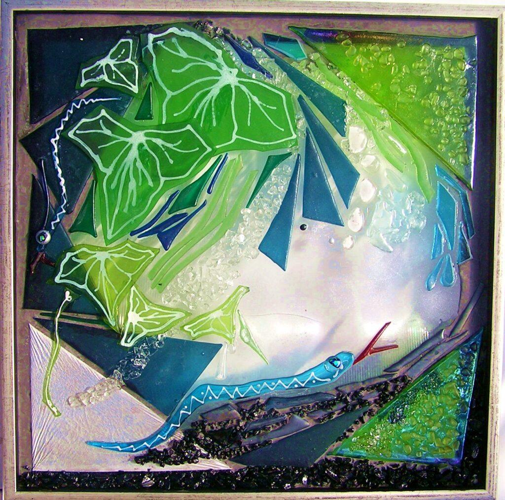 Mosaik, mosaikker, glaspatch mosaik, glaskunst, glaspatch glaskunst, glaskunst galleri, glaskunst udstilling, glaskunstner, Mette Enøe, slange, paradis