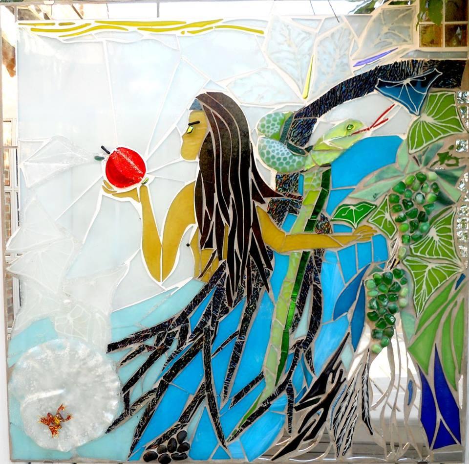 kunstmosaik, glasmosaik, glaskunst, glaskunst galleri, Glaspatch, Glaspatch glaskunst, Mette Enøe, glaskunst udstilling, Eva og syndefaldet, kunst, kunst udstilling