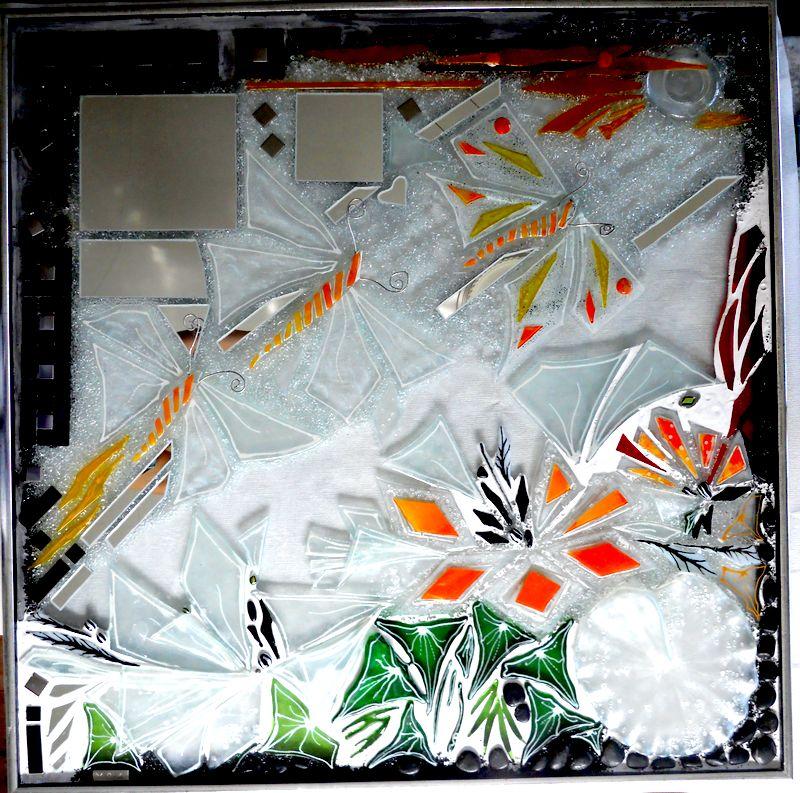 kunstmosaik, glasmosaik, glaskunst, glaskunst galleri, Glaspatch, Glaspatch glaskunst, Mette Enøe, glaskunst udstilling, mosaik, sommerfugle, kunst, kunst udstilling