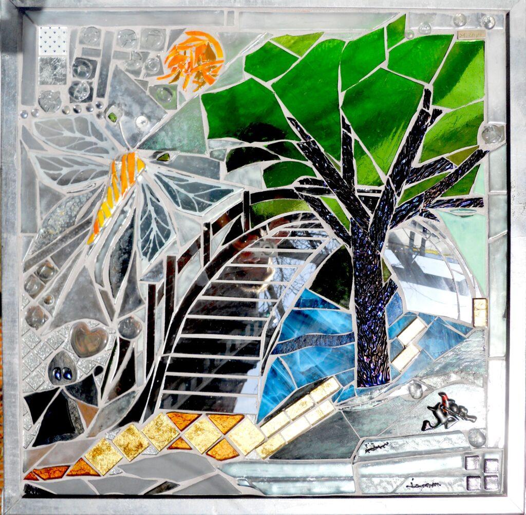 mosaik, mosaikker, glaskunst, glaskunstner, glaskunst galleri, kunstmosaik, billedkunst, udendørs kunst, kunst til haven, kunst, kunstner, glaskunstner