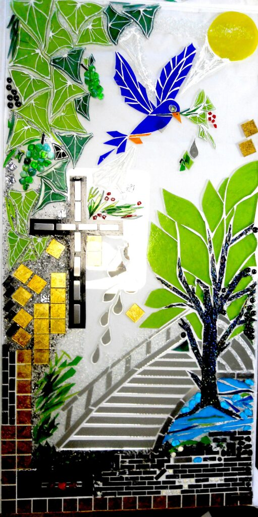 religiøs kunst, håb, Håbets bro, Videbæk kapel, mosaik, glasmosaik, glaskunst, glaskunstner, Mette Enøe, glaspatch glaskunst,  glaskunst udstilling, glaskunst galleri
