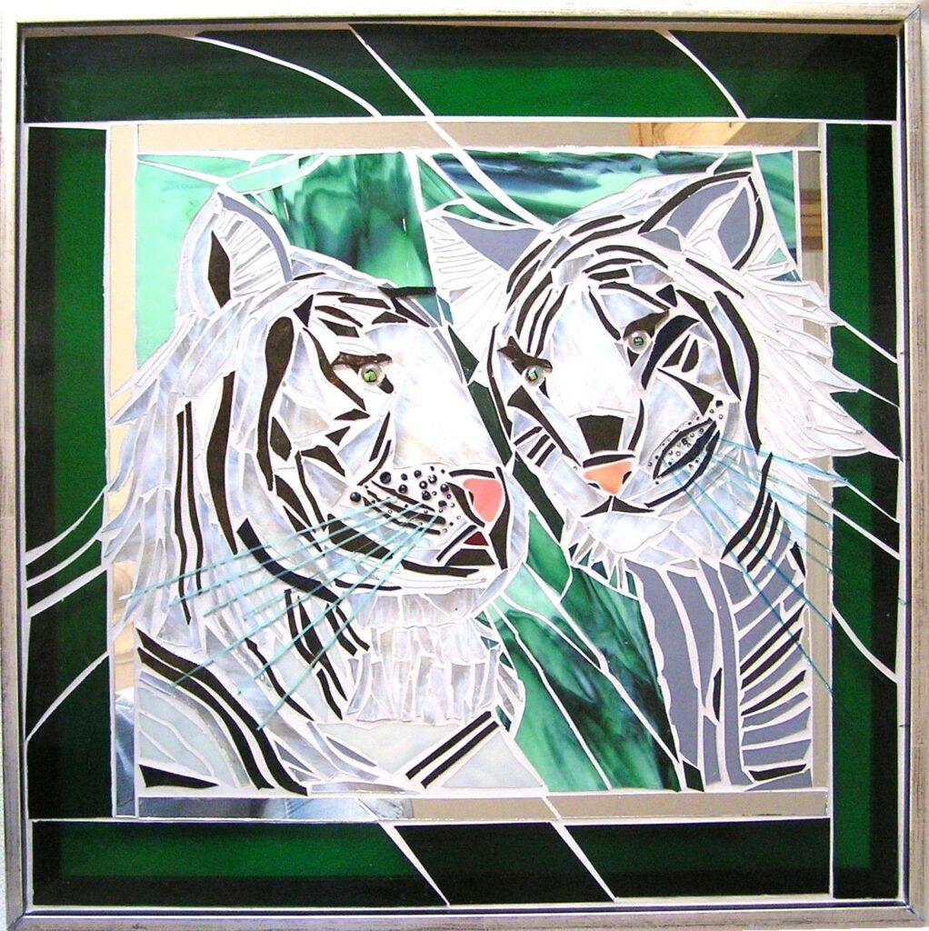 kunstmosaik, glasmosaik, glaskunst, glaskunst galleri, Glaspatch, mosaik, Glaspatch glaskunst, Mette Enøe, glaskunst udstilling, Hvide tigre, kunst, kunst udstilling