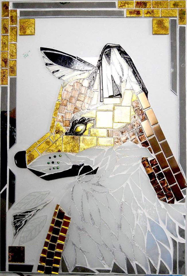 Mette Enøe, glaskunst udstilling, , kunst, kunst udstilling. udendørs kunst, udendørs mosaik, udendørs mosaikker, Ræv