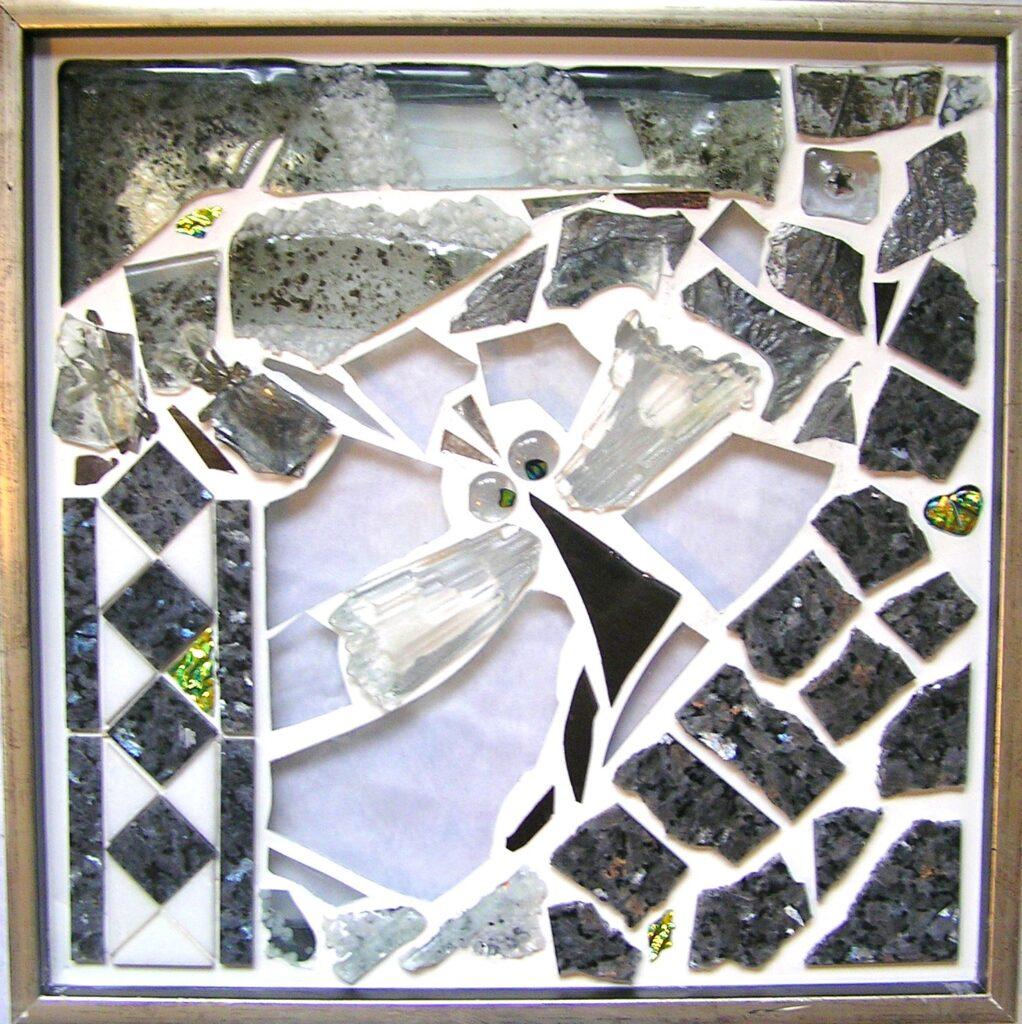Mosaik str. 30*30 cm  af Mette Enøe, glaskunster og specialist.  Se det flotte udvalg. Fremvisning af galleri efter aftale.
