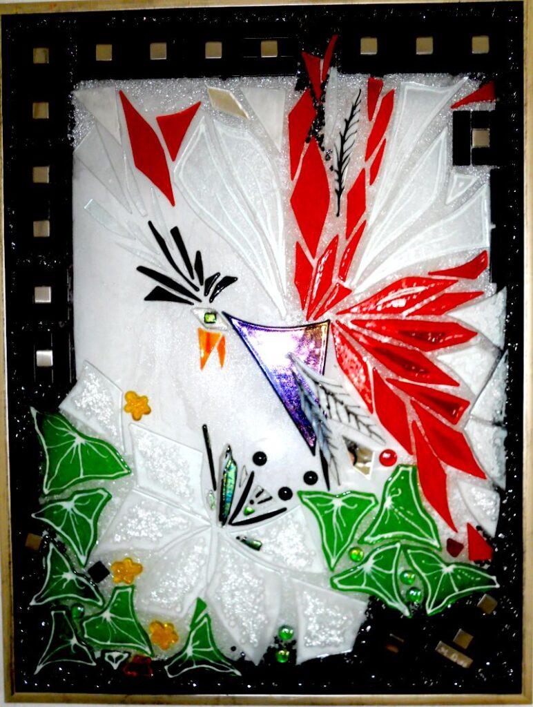 glaskunst, glaskunst galleri, Glaspatch, Glaspatch glaskunst, Mette Enøe, glaskunst udstilling, Fugl Phønix, kunst, kunst udstilling. udendørs kunst, udendørs mosaik, udendørs mosaikker