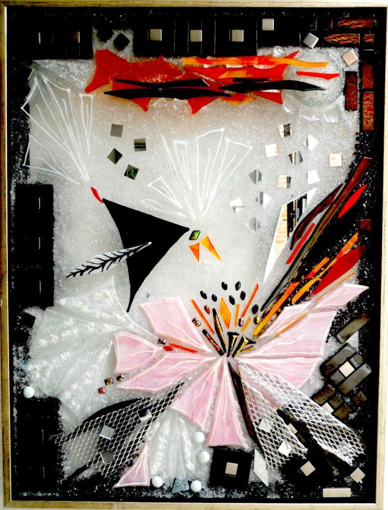 glaskunst, glaskunst galleri, Glaspatch, Glaspatch glaskunst, Mette Enøe, glaskunst udstilling, Fugl Phønix, kunst, kunst udstilling, mosaikker