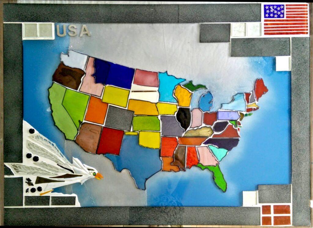 USA kort, USA kunst, mosaik, glasmosaik, glaskunst, glaskunstner, Mette Enøe, glaspatch glaskunst, glaskunst udstilling, glaskunst galleri