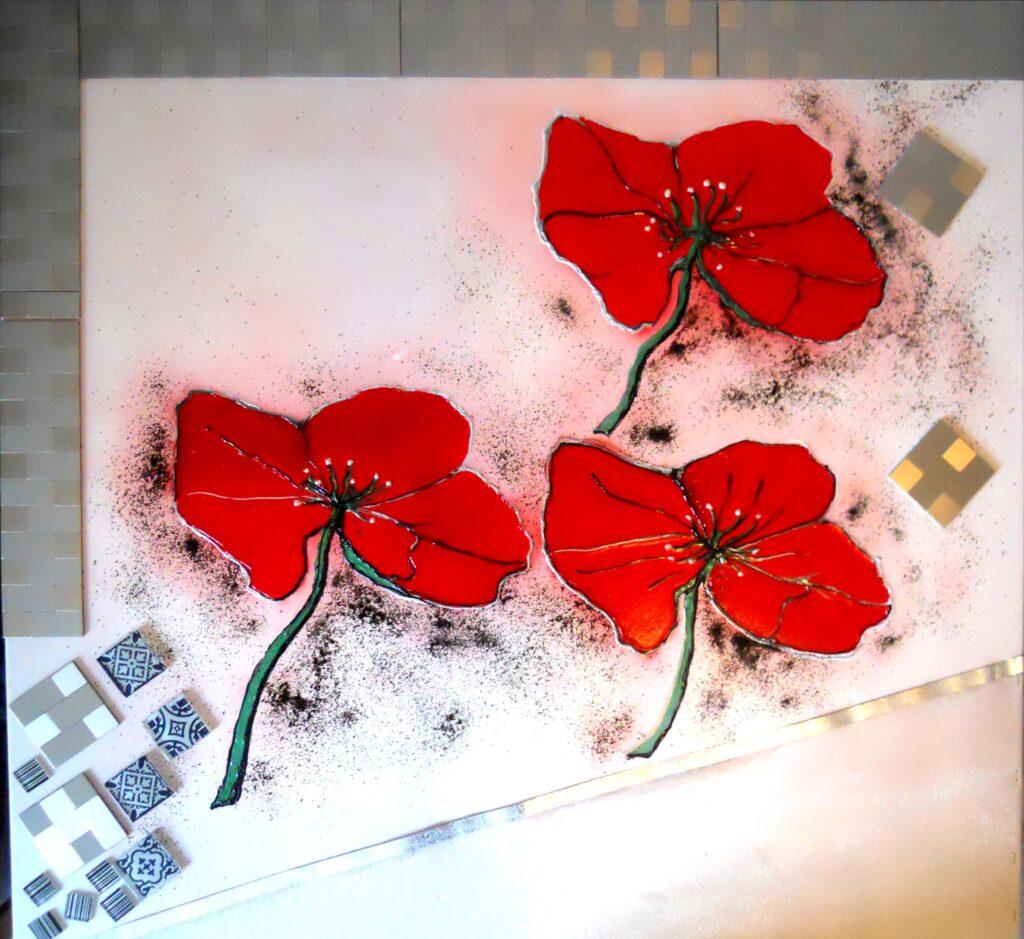 glaskunst, glaskunst galleri, Glaspatch, Glaspatch glaskunst, Mette Enøe, glaskunst udstilling, , kunst, kunst udstilling, Stort maleri. maleri str. 100* 100 cm, valmue, valmuer,