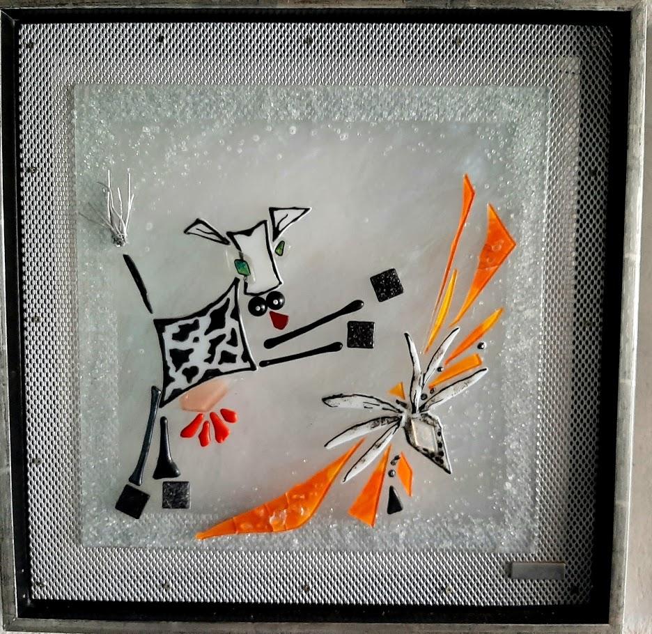 Mosaik, mosaikker, glaspatch mosaik, glaskunst, glaspatch glaskunst, glaskunst galleri, glaskunst udstilling, glaskunstner, Mette Enøe, ko, køer