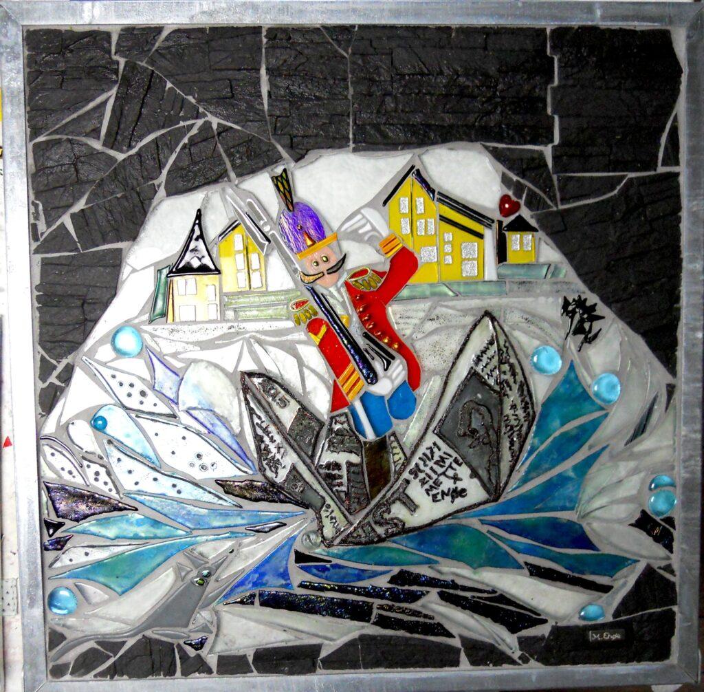 kunstmosaik, glasmosaik, glaskunst, glaskunst galleri, Glaspatch, Glaspatch glaskunst, Mette Enøe, glaskunst udstilling, Den tapre tinsoldat, H.C. Andersen, kunst udstilling