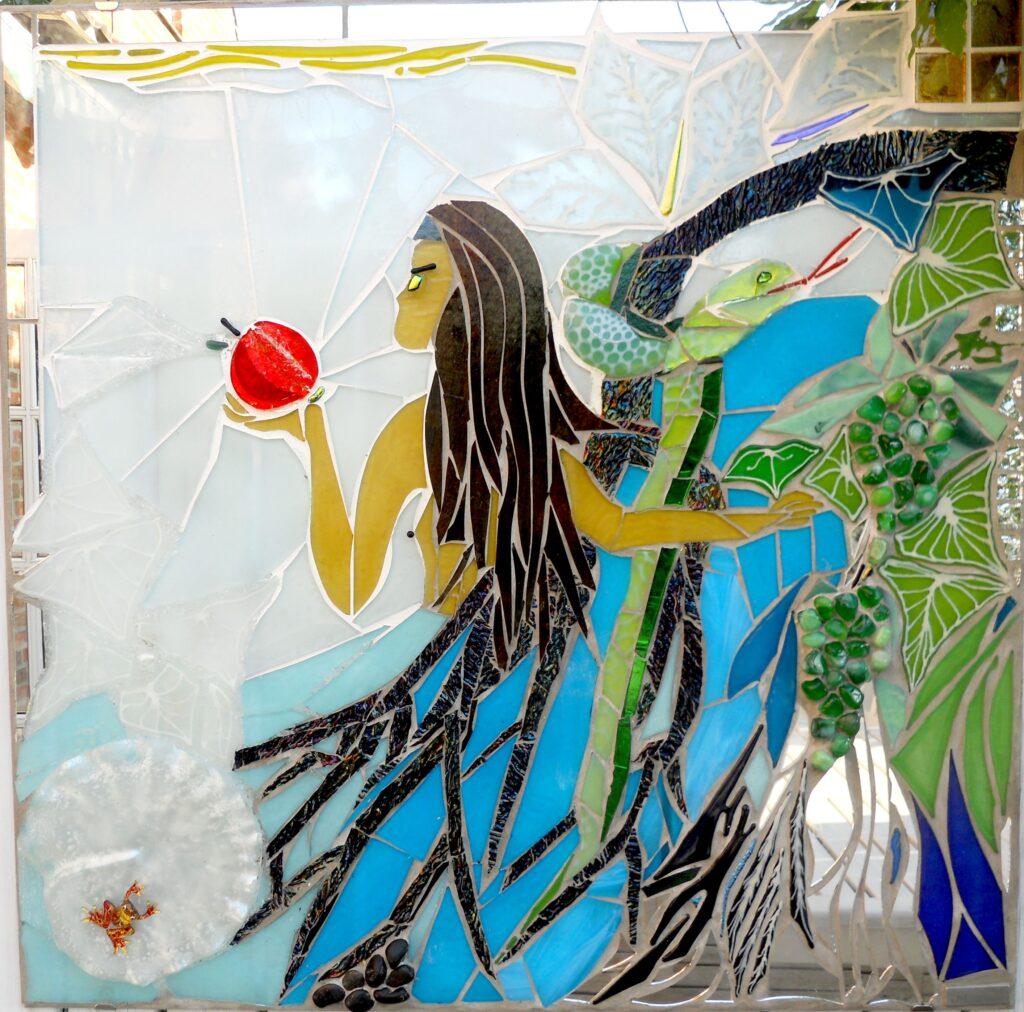mosaik, mosaikker, glaskunst, glaskunstner, glaskunst galleri, kunstmosaik, billedkunst, udendørs kunst, kunst til haven, kunst, kunstner