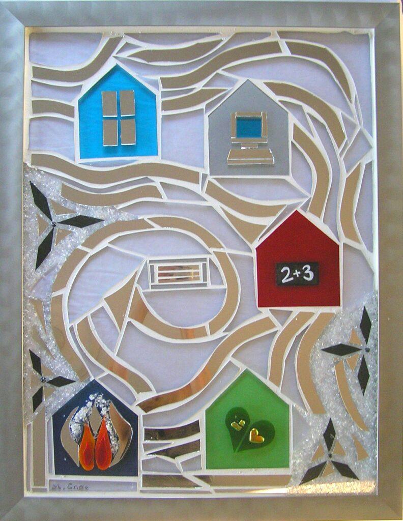 glaskunst, skilt, udendørs kunst, skilt i glas, glas skilt, glaspatch skilt, mosaik skilt, erhvervs skilte, skilt kunst, kunstskilt, mosaik, mosaikkunst, glaskunstner, Mette Enøe, specialopgaver