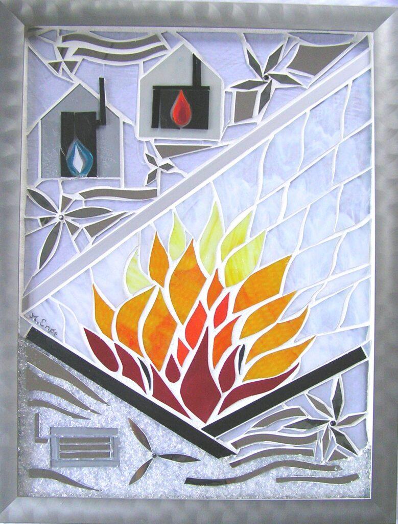 skilt i glas, glas skilt, glaspatch skilt, mosaik skilt, erhvervs skilte, skilt kunst, kunstskilt, mosaik, mosaikkunst, glaskunstner, Mette Enøe, Exhausto