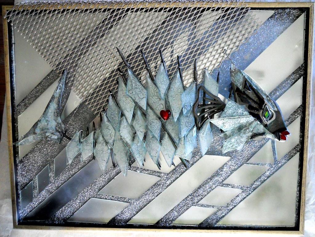 glaskunst, glaskunstner, Mette Enøe, glaspatch glaskunst, glaskunst udstilling, glaskunst galleri, Kunstmosaik, mosaik, fisk i glas, glasfisk, fiske skulptur, skulptur i glas, Blokhus fiskerestaurant