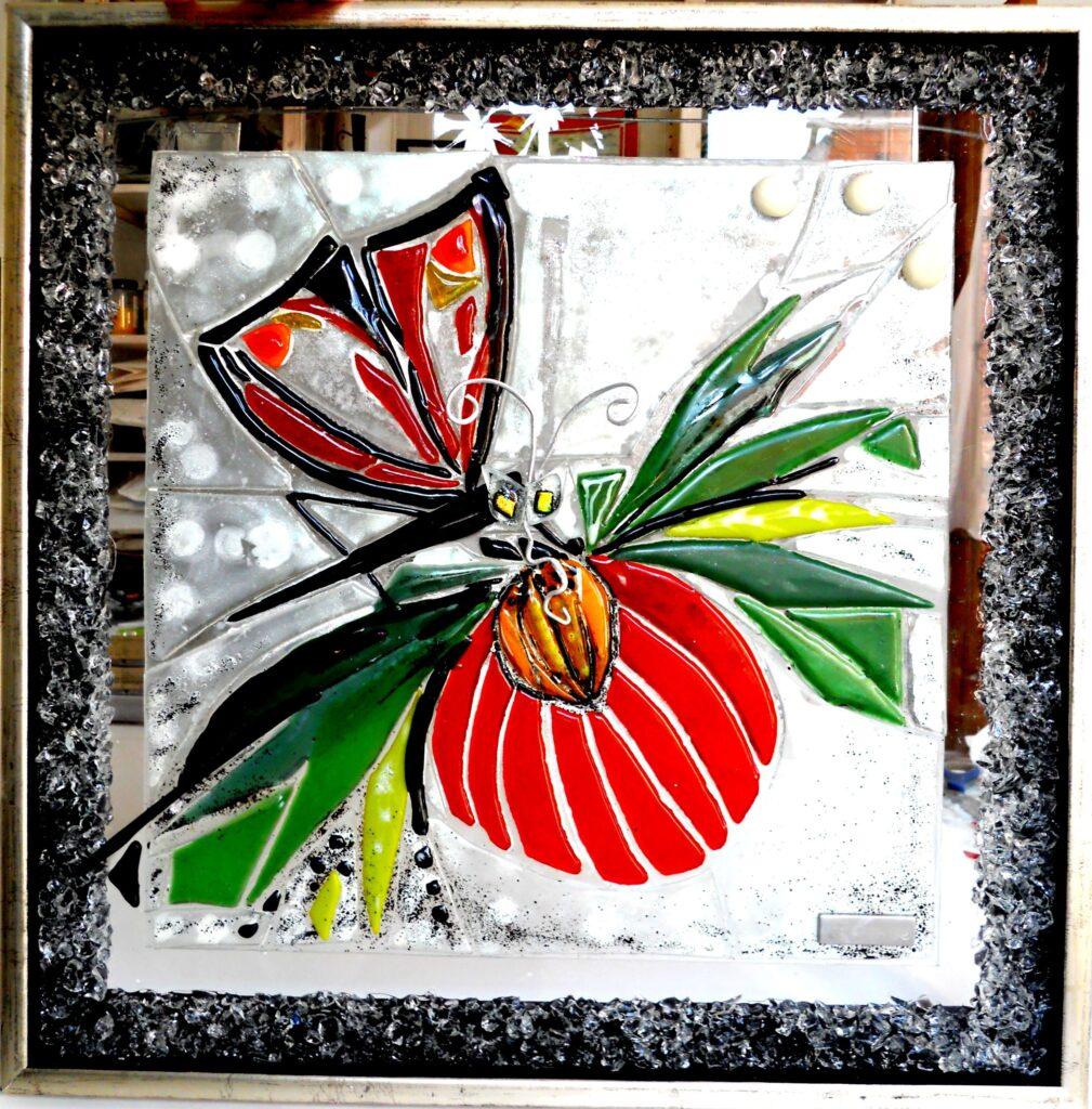 Mosaik, mosaikker, glaspatch mosaik, glaskunst, glaspatch glaskunst, glaskunst galleri, glaskunst udstilling, glaskunstner, Mette Enøe, orkide, sommerfugl