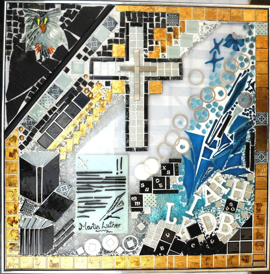 Reformationen, Luther, mosaik, glasmosaik, glaskunst, glaskunstner, Mette Enøe, glaspatch glaskunst, glaskunst udstilling, glaskunst galleri, religiøs kunst
