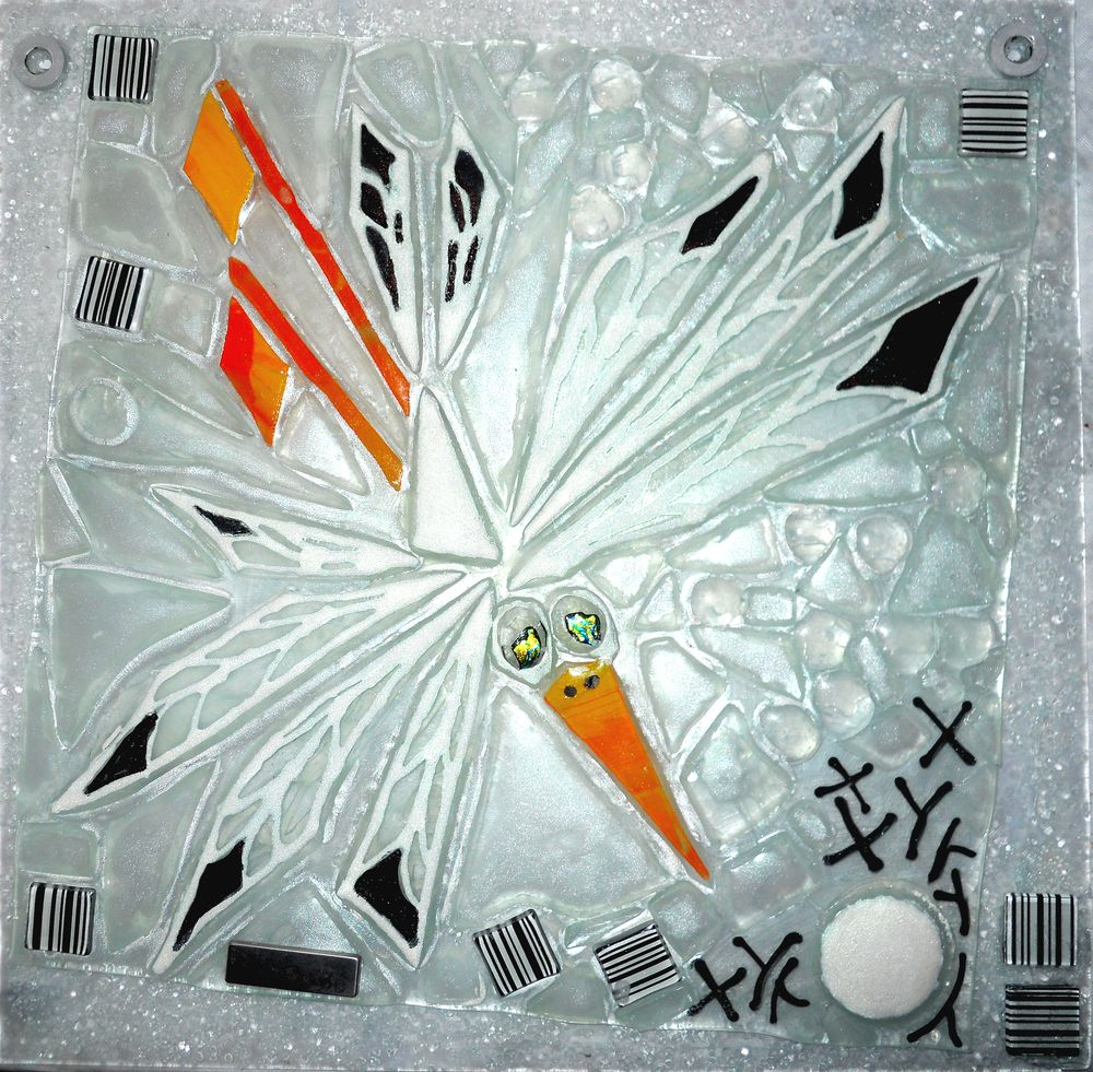 mosaik, kunstmosaik, mosaikkunst, Glaspatch, Mette Enøe, glaskunst, glaskunst udstilling, glaskunst galleri. galleri, kunstudstilling,stork