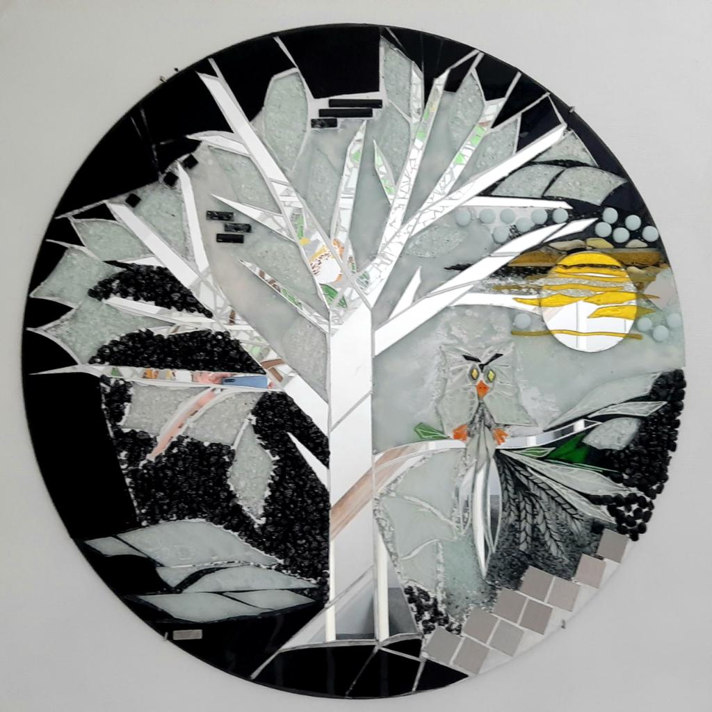 kunstmosaik, glasmosaik, glaskunst, glaskunst galleri, Glaspatch, Glaspatch glaskunst, Mette Enøe, glaskunst udstilling, Livets træ,  kunst udstilling