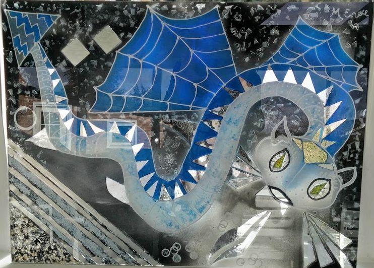 glaspatch glaskunst, glaskunst udstilling, glaskunst galleri, Kunstmosaik, mosaik, glaskunst,  special opgaver, glaskunst bestilling, drage