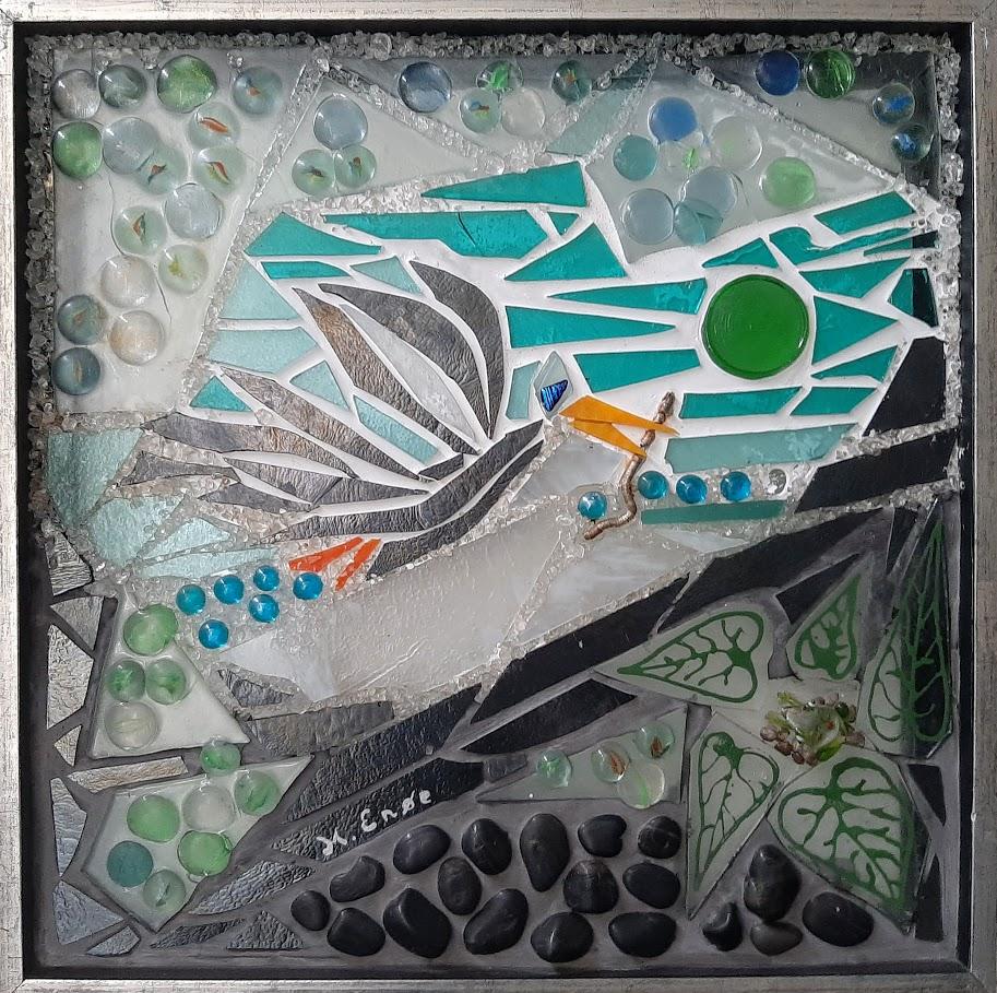 Mosaik, mosaikker, glaspatch mosaik, glaskunst, glaspatch glaskunst, glaskunst galleri, glaskunst udstilling, glaskunstner, Mette Enøe, fugl, kunst