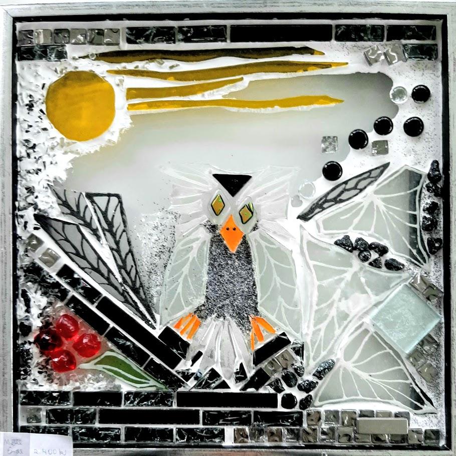 mosaik, kunstmosaik, mosaikkunst, Glaspatch, Mette Enøe, glaskunst, glaskunst udstilling, glaskunst galleri. galleri, kunstudstilling, ugle