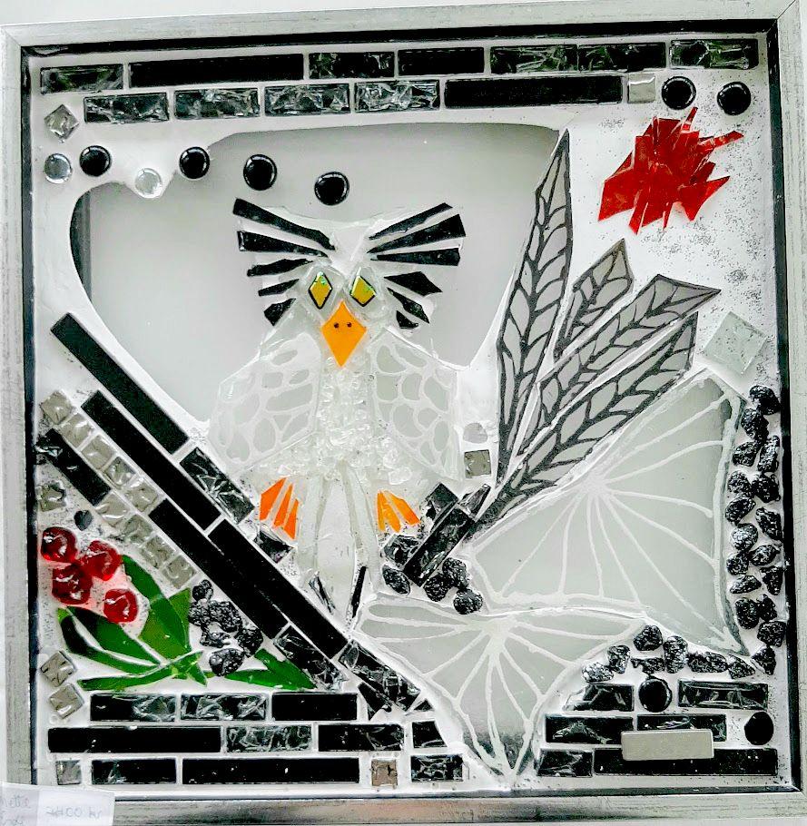 mosaik, kunstmosaik, mosaikkunst, Glaspatch, Mette Enøe, glaskunst, glaskunst udstilling, glaskunst galleri. galleri, kunstudstilling,ugle